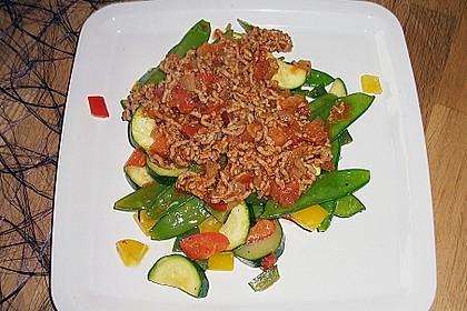Gemüsepfanne mit Hackfleischsauce 1