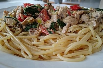 Wildlachs in Bärlauch-Sahne Sauce an Spaghetti 6