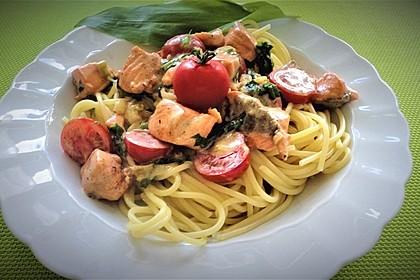 Wildlachs in Bärlauch-Sahne Sauce an Spaghetti 8