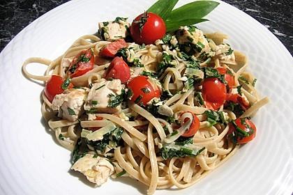 Wildlachs in Bärlauch-Sahne Sauce an Spaghetti 3
