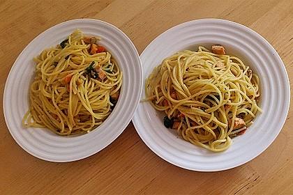 Wildlachs in Bärlauch-Sahne Sauce an Spaghetti 23