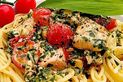 Wildlachs in Bärlauch-Sahne Sauce an Spaghetti 4
