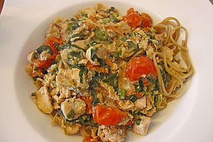 Wildlachs in Bärlauch-Sahne Sauce an Spaghetti 22