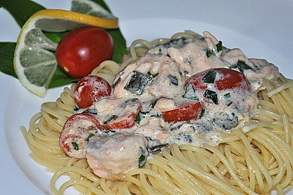 Wildlachs in Bärlauch-Sahne Sauce an Spaghetti 13