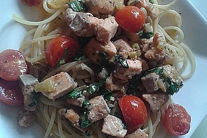 Wildlachs in Bärlauch-Sahne Sauce an Spaghetti 16
