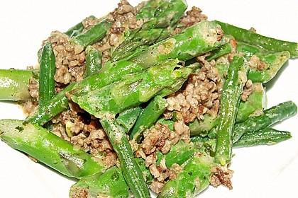 Spargel-Hack Pfanne mit grünen Bohnen und Pellkartoffeln 2