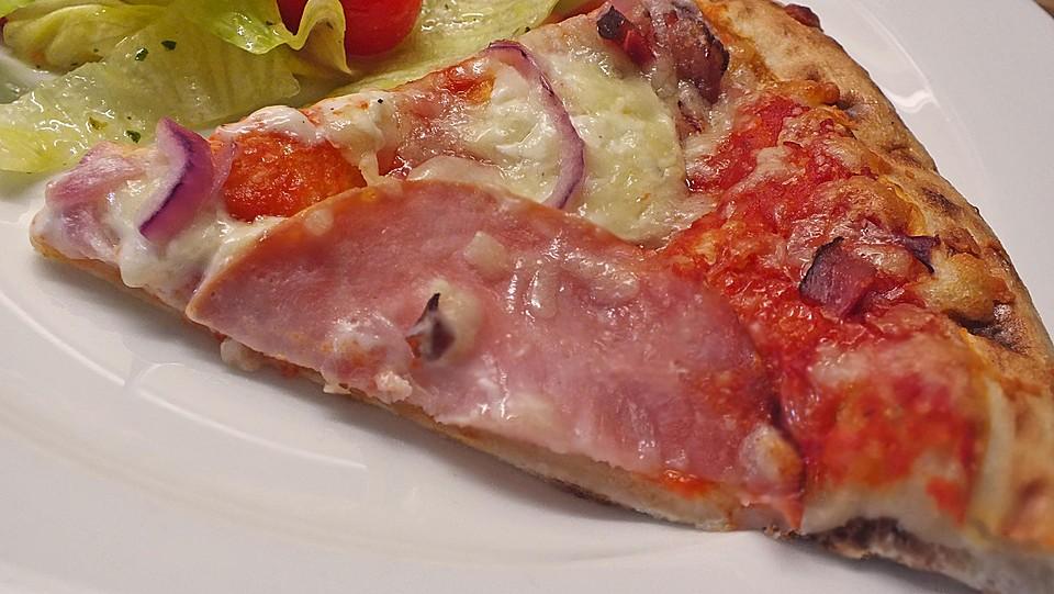 pizza mit pesto tomaten und schinken rezept mit bild. Black Bedroom Furniture Sets. Home Design Ideas