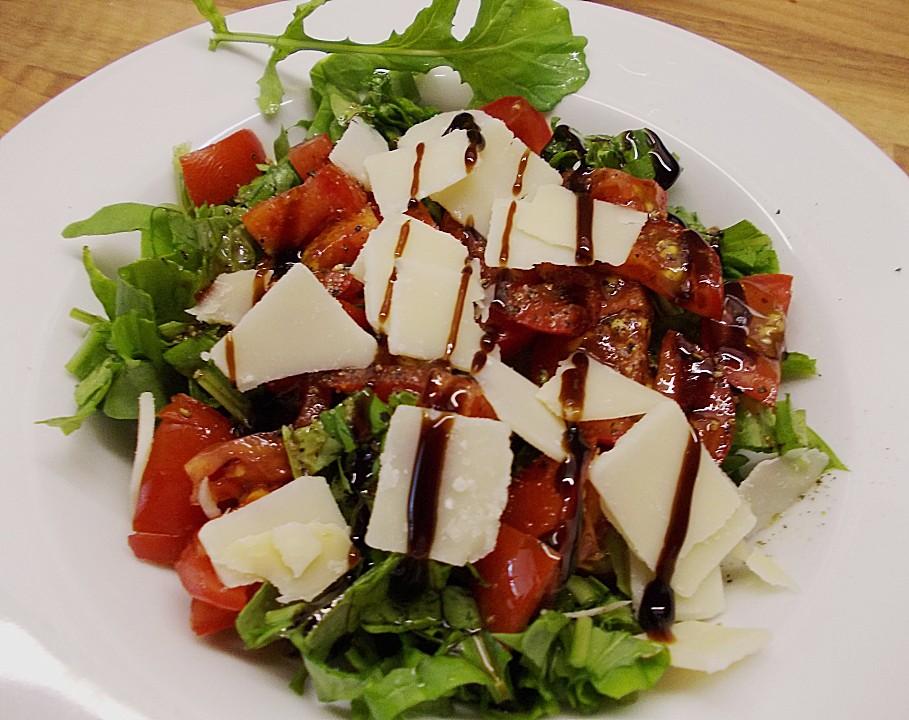 rauke tomaten salat mit balsamicodressing und parmigiano von badegast1. Black Bedroom Furniture Sets. Home Design Ideas
