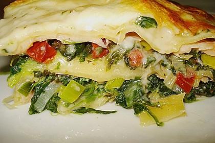 Spinat-Lauch-Lasagne mit Räucherlachs