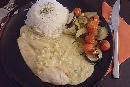 Dill-Curry-Honig-Sauce zu Fisch und Reis