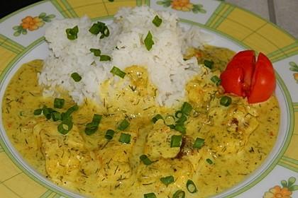 Dill-Curry-Honig-Sauce zu Fisch und Reis 4
