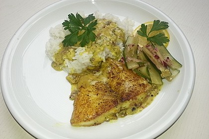 Dill-Curry-Honig-Sauce zu Fisch und Reis 12