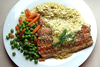 Dill-Curry-Honig-Sauce zu Fisch und Reis 3