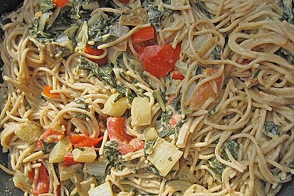 Mangold - Tomaten - Senf - Sahne - Tagliatelle 14