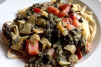 Mangold - Tomaten - Senf - Sahne - Tagliatelle 16