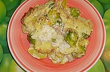 Kartoffelauflauf mit Rosenkohl und Thunfisch