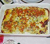 Fisch mit Avocado, Garnelen, Sahne und Käse (Bild)