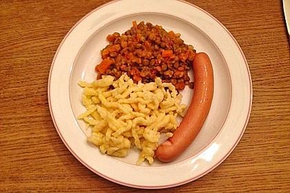 Schwäbische Linsen mit Spätzle und Saitenwürstchen 14