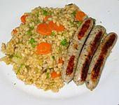 Reis mit Fenchel, Frühlingszwiebel und Möhren