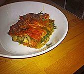 Vegetarische Spinat-Gemüse Lasagne mit Tomatensoße (Bild)