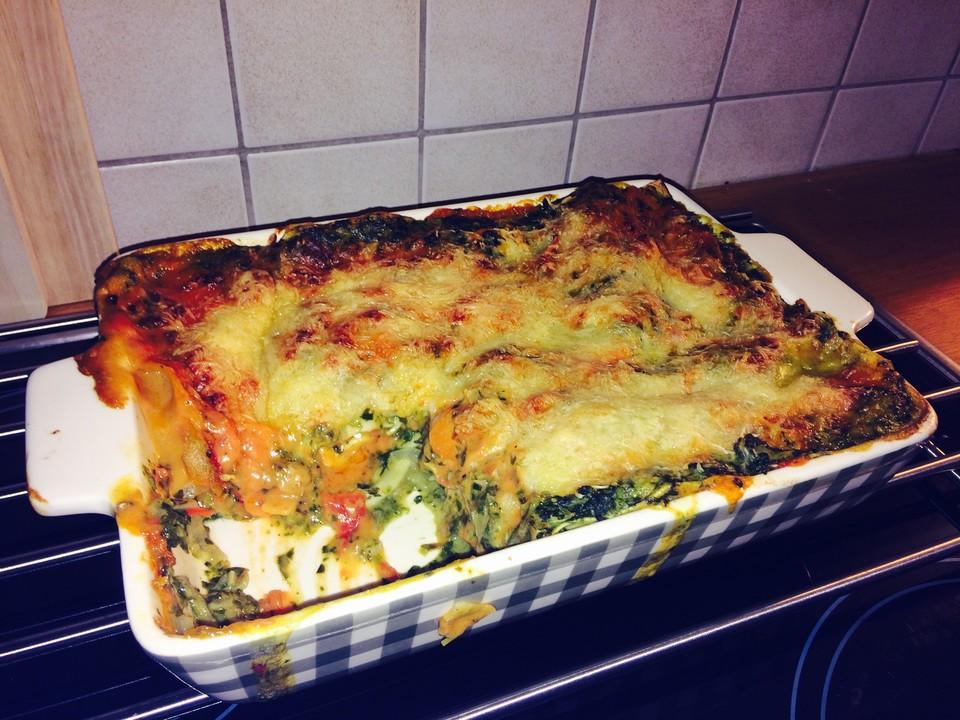 Rezept vegetarische lasagne mit spinat