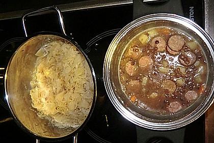 Linsen mit Sauerkraut
