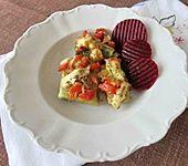 Überbackene Maultaschen mit Baked Beans und Paprika