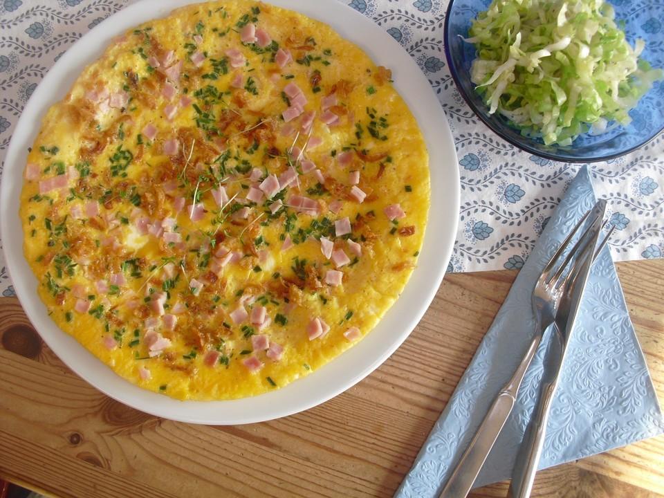 schnelles omelett mit r stzwiebeln und schinken rezept mit bild. Black Bedroom Furniture Sets. Home Design Ideas