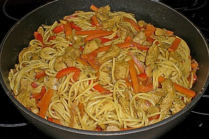 Puten-Spaghetti Pfanne