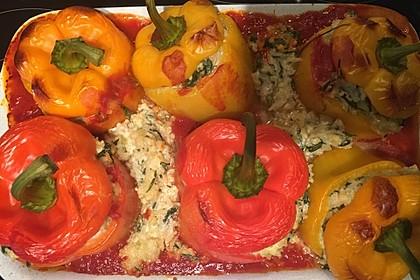 Geschmorte Paprika gefüllt mit Feta-Spinat-Reis 6