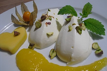Limonen Mousse an Mangosauce