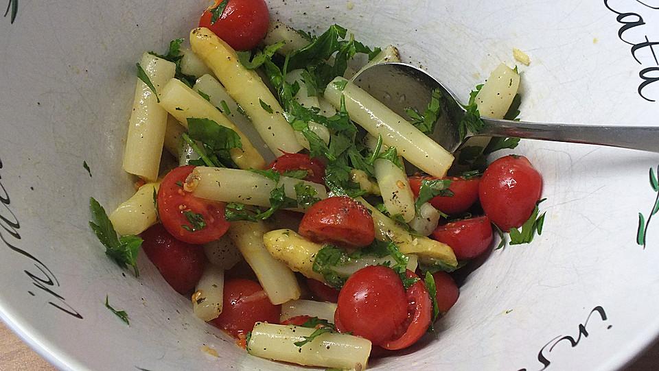 Spargelsalat tomaten parmesan