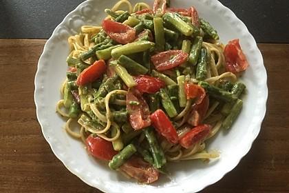 Sehr aromatische Pasta mit grünem Spargel 5