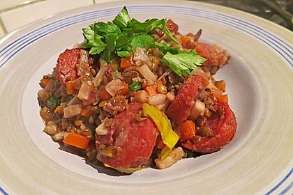 Italienischer Linseneintopf mit Salsicce