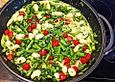 Spargelpfanne mit Spinat und Gorgonzola mit Gnocchi