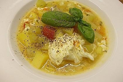 Kürbis-Gemüse Eintopf mit Eierstich