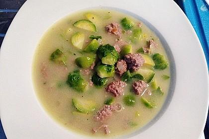 Hackfleisch-Rosenkohl-Suppe