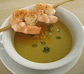 Maiscremesuppe mit Garnelen