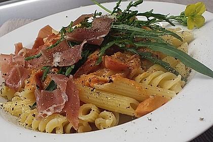 Pasta mit Rucola, Mascarpone und Parmaschinken 11