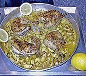 Brathähnchen vom Blech mit Zitrone und Kartoffeln (Bild)