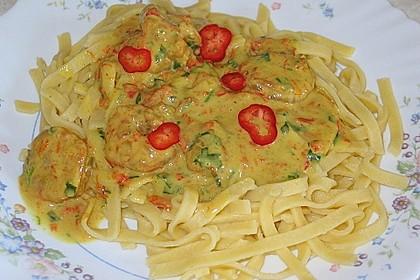 Pasta mit Garnelen in Kokos-Sahne-Soße 1
