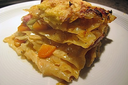 Weißkohl-Lasagne