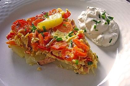 Kartoffel-Gemüsetortilla mit Kräuterquark