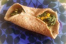 Crêpes (Pfannkuchen), vegan mit Spinat-Gemüsefüllung