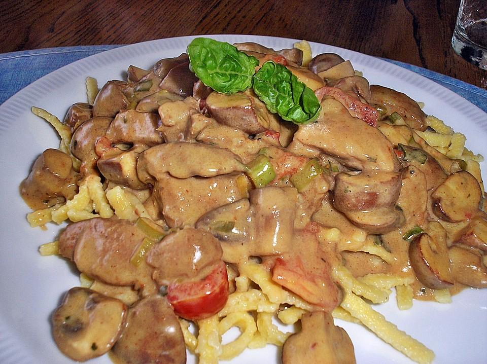 Sommergerichte Mit Schweinefleisch : Geschnetzeltes mit champignons in frischkäse sauce von