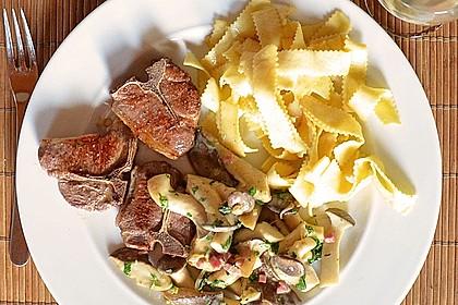 Kräuterseitlinge mit T-Bone Steaks vom Lamm und Bandnudeln 1