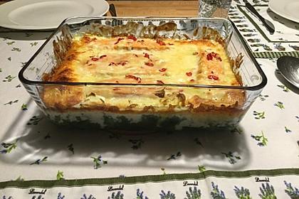 Süß-scharfer Lachs auf Spinat mit Sahnesauce und Honigkruste 41
