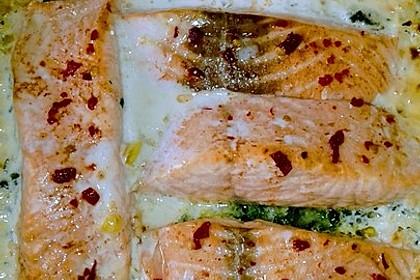 Süß-scharfer Lachs auf Spinat mit Sahnesauce und Honigkruste 27
