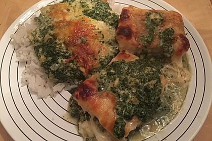 Süß-scharfer Lachs auf Spinat mit Sahnesauce und Honigkruste 42