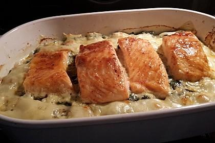 Süß-scharfer Lachs auf Spinat mit Sahnesauce und Honigkruste 22